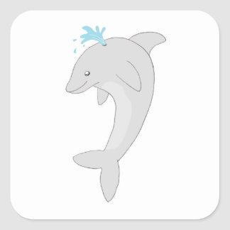 Cute Happy Dolphin Square Sticker