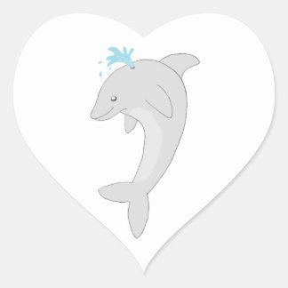 Cute Happy Dolphin Heart Sticker