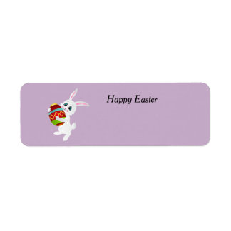 Cute Happy Easter Bunny Carrying Egg Return Address Label