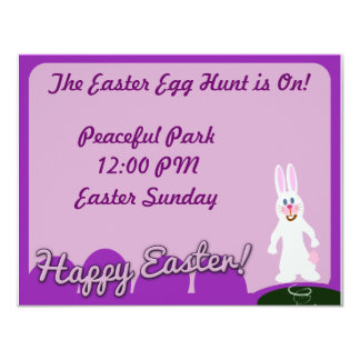 "Cute Happy Easter Bunny 4.25"" X 5.5"" Invitation Card"