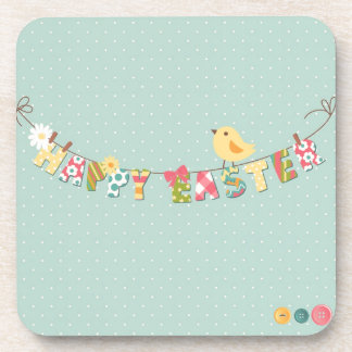 Cute Happy Easter Card Coaster