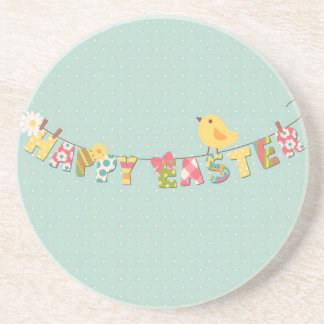 Cute Happy Easter Card Drink Coaster
