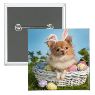 Cute Happy Easter Day Puppy 15 Cm Square Badge