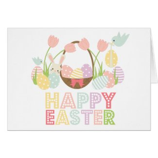 Cute Happy Easter Eggs and Bunny Card