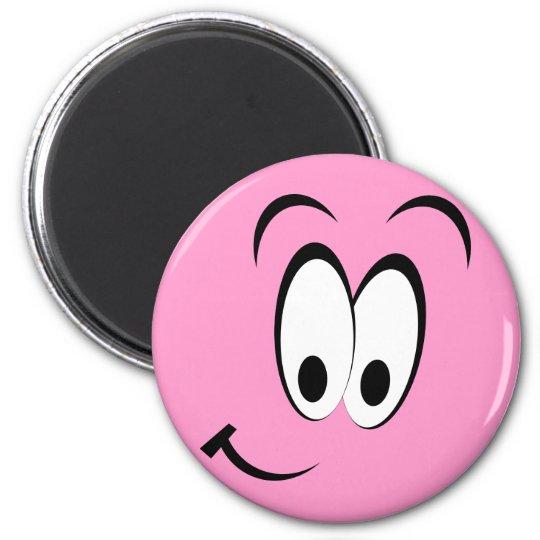 Cute Happy Face 6 Cm Round Magnet