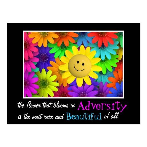 Cute Happy Face Flowers Postcard