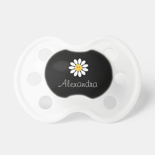 Cute Happy Face Girly White Daisy Flower Baby