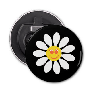 Cute Happy Face Girly White Daisy Flower on Black Bottle Opener
