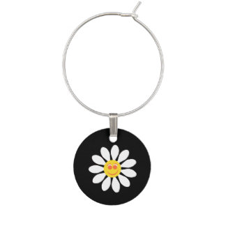 Cute Happy Face Girly White Daisy Flower on Black Wine Glass Charms