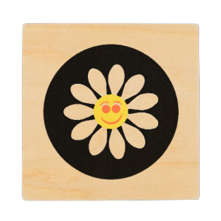 Cute Happy Face Girly White Daisy Flower on Black Wood Coaster