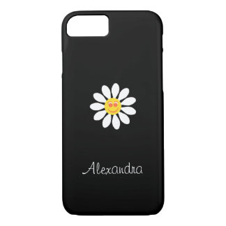 Cute Happy Face Girly White Daisy Flower With Name iPhone 7 Case