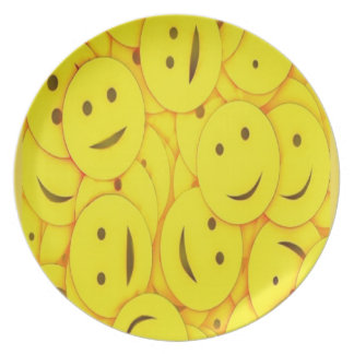 Cute happy faces collage dinner plates