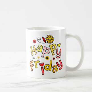 Cute Happy Friday Week Greeting Text Expression Coffee Mug