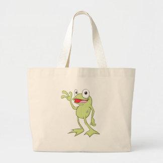 Cute Happy Frog Cartoon Jumbo Tote Bag