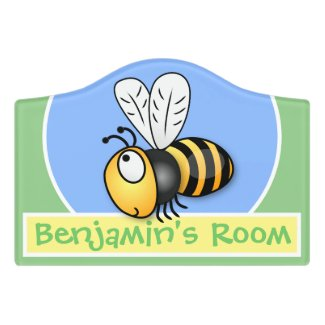 Cute happy funny bee cartoon illustration door sign