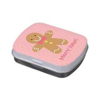 Cute Happy Gingerbread Man Christmas Treats Candy Tins