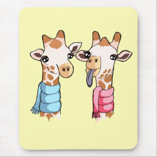 Cute Happy Giraffes in Scarves Drawing Mousepad