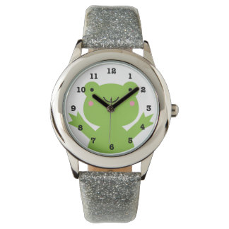 Cute Happy Green Frog Numbered Wrist Watch