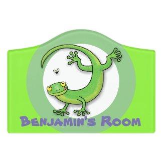 Cute happy green gecko lizard with bug cartoon door sign