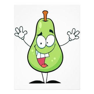 cute happy green pear cartoon character custom flyer