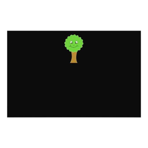 Cute Happy Green Tree. On black. Flyer