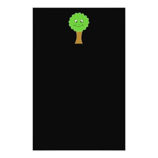 Cute Happy Green Tree. On black. Flyers