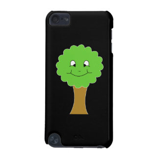 Cute Happy Green Tree. On black. iPod Touch 5G Cases