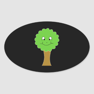 Cute Happy Green Tree. On black. Oval Sticker