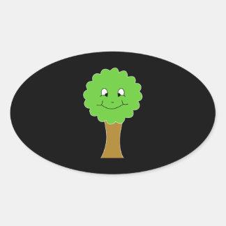 Cute Happy Green Tree. On black. Oval Sticker