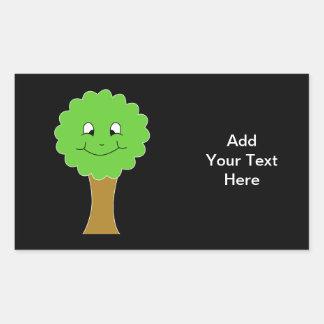Cute Happy Green Tree. On black. Rectangular Sticker