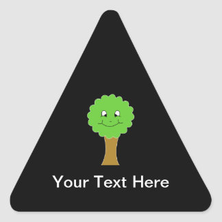 Cute Happy Green Tree. On black. Triangle Sticker