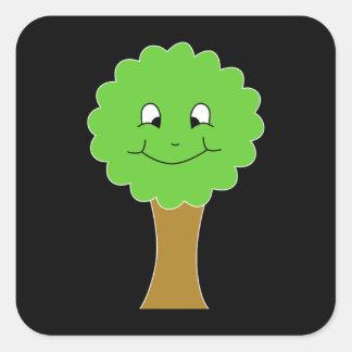 Cute Happy Green Tree. On black. Square Sticker