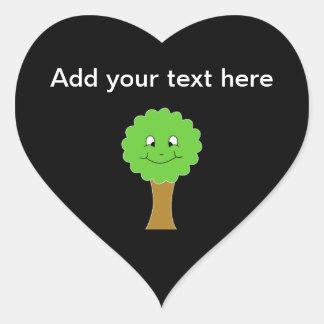 Cute Happy Green Tree. On black. Heart Sticker
