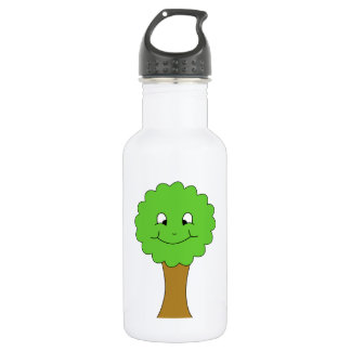 Cute Happy Green Tree. On white. 532 Ml Water Bottle