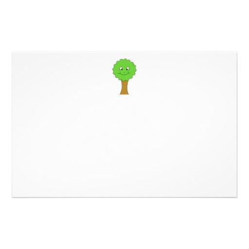 Cute Happy Green Tree. On white. Custom Flyer
