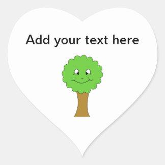 Cute Happy Green Tree. On white. Heart Sticker