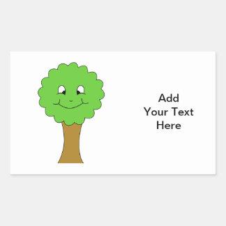 Cute Happy Green Tree. On white. Rectangular Sticker