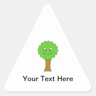 Cute Happy Green Tree. On white. Triangle Sticker