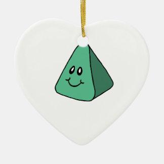 Cute Happy Green Triangle Ceramic Heart Decoration