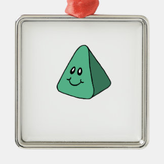 Cute Happy Green Triangle Christmas Ornament