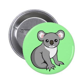 Cute Happy Grey Koala Drawing Button Badge