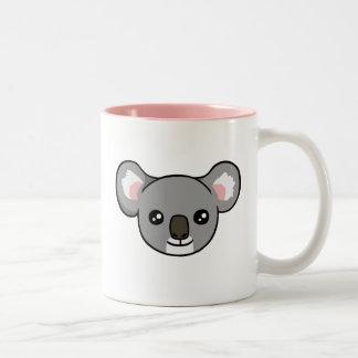 Cute Happy Grey Koala Drawing Face Pink Mug