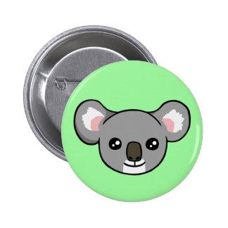 Cute Happy Grey Koala Face Drawing Button Badge