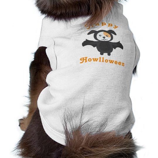 Cute Happy Halloween Howlloween Dog Bat Costume Shirt