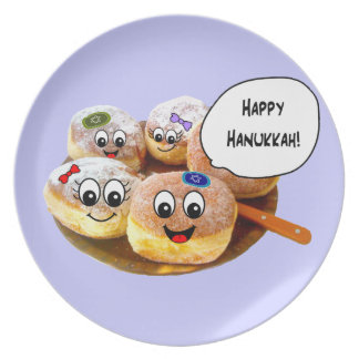 Cute Happy Hanukkah Donut plate