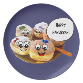 Cute Happy Hanukkah Donut plate (blue)