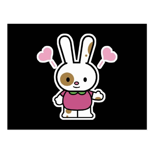 cute happy hearts bunny postcard