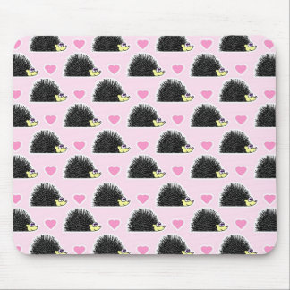 Cute Happy Hedgehog and Heart Pink Pattern Mouse Pad