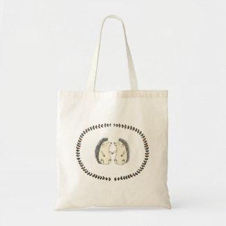 Cute Happy Hedgehog Couple Woodland Art Tote Bag