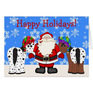 Cute Happy Holiday Horse Christmas Greeting Card